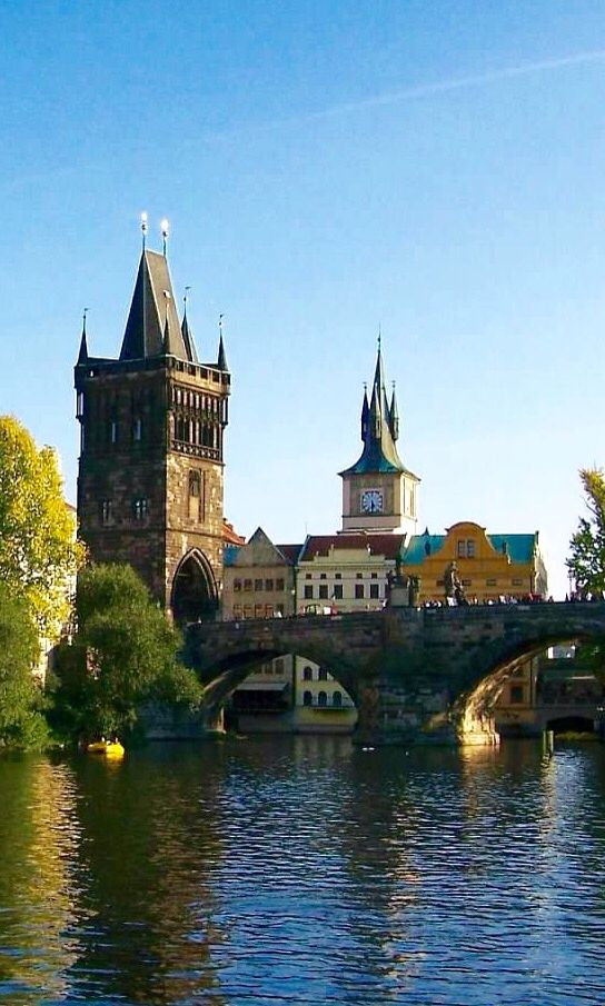 View of Old Town Bridge Tower & Charles Bridge in Prague,Czech Republic
