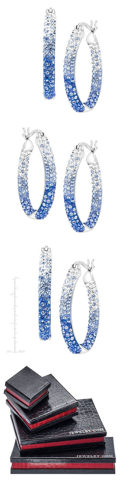 Other Fine Earrings 10984: Crystaluxe Oval Hoop Earrings With Blue Ombre Swarovski Crystals Sterling Silver -> BUY IT NOW ONLY: $62 on eBay!