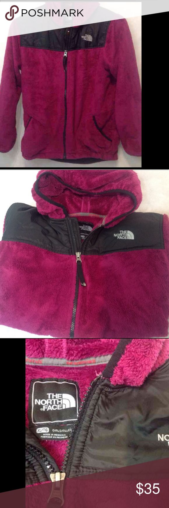"""North face XL Girls great pre owned condition North face XL Girls great pre owned condition. Purple/Cranberry/burgundy/Magenta Excellent Condition  High pile fleece  Full front zip, 2 side zip pockets  100% Polyester  Approximately 25"""" in length, 22"""" underarm to underarm, 20"""" arm inseam🌸 Magenta and Gray/Black Girls size XL/18 Please use measurements! North Face Jackets & Coats Puffers"""
