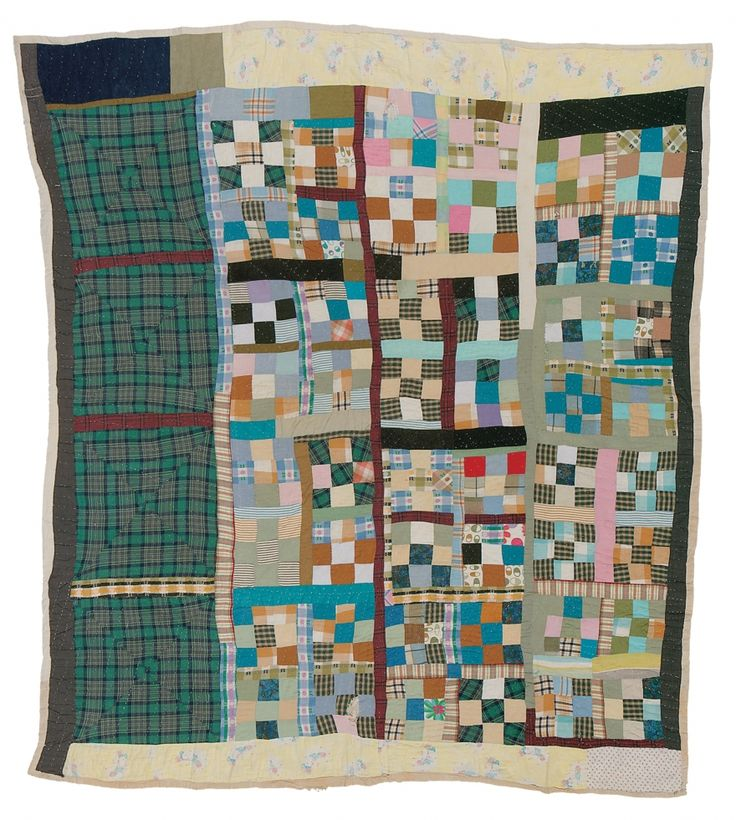 """Work by RUTH PETTWAY MOSELY """"Nine Patch"""" variation    1949. Cotton."""