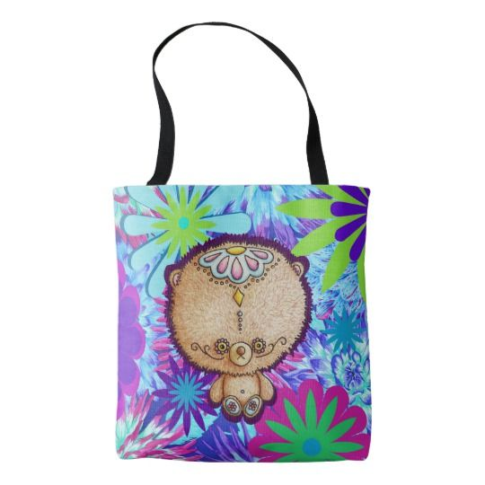Hippy Bear Tote Bag - other tote bags available at I Love the Quirky's Zazzle Store.