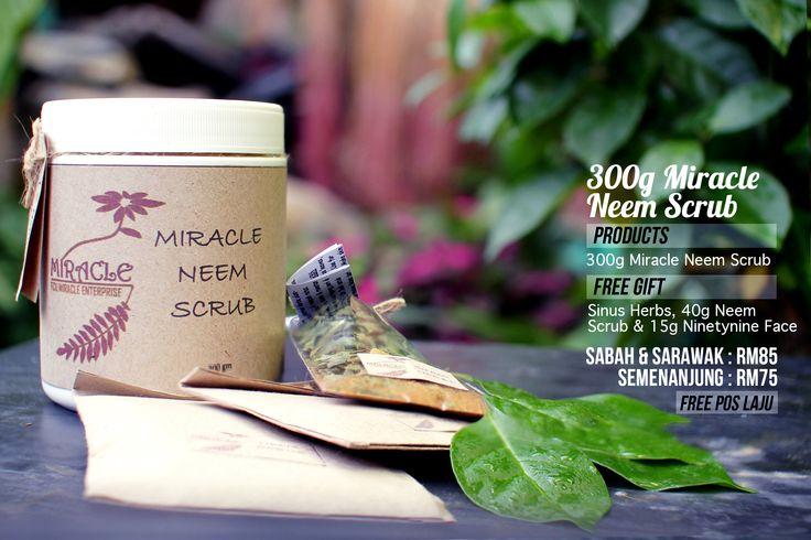 Miracle Neem Scrub adalah gabungan dari Miracle Mask dan daun mambu(neem) untuk lulur badan dan masker muka yg sangat berkesan untuk melicinkan,menghaluskan dan mencerahkan kulit muka dan badan.  Untuk membuat pembelian,sila sms/whatsApp ke 0192887938 atau lawat web kami di www.fcumiracle.com Terima kasih.