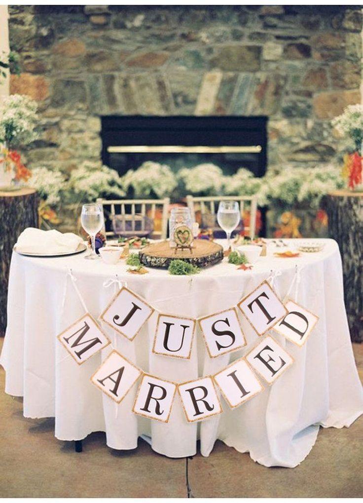 """Just Married"" Wedding Banner  DIY Wedding Shop | Budget Bride Blog | Bohemian Bride | Country Bride | DIY Party | Cheap Wedding Ideas | Wedding Advice and Tips | Wedding Trends"