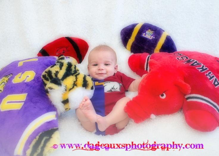 ©www.dageauxsphotography.com / House Divided LSU / ARKANSAS RAZORBACK baby boy / infant photography