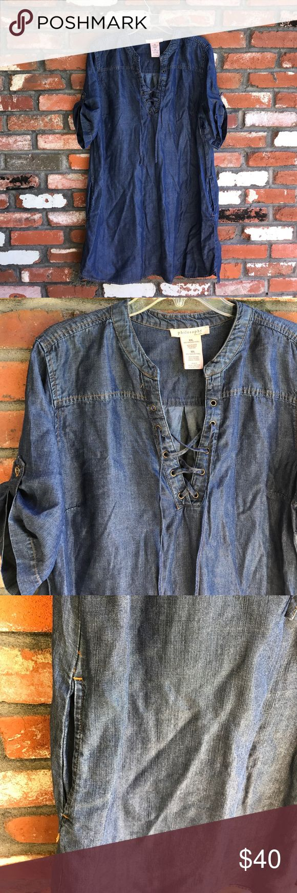 """Philosophy tencel chambray denim shirt dress This is so cute with the cross cross front and pockets!  Excellent condition.  Measures 38"""" long and 24"""" armpit to armpit Philosophy Dresses Midi"""