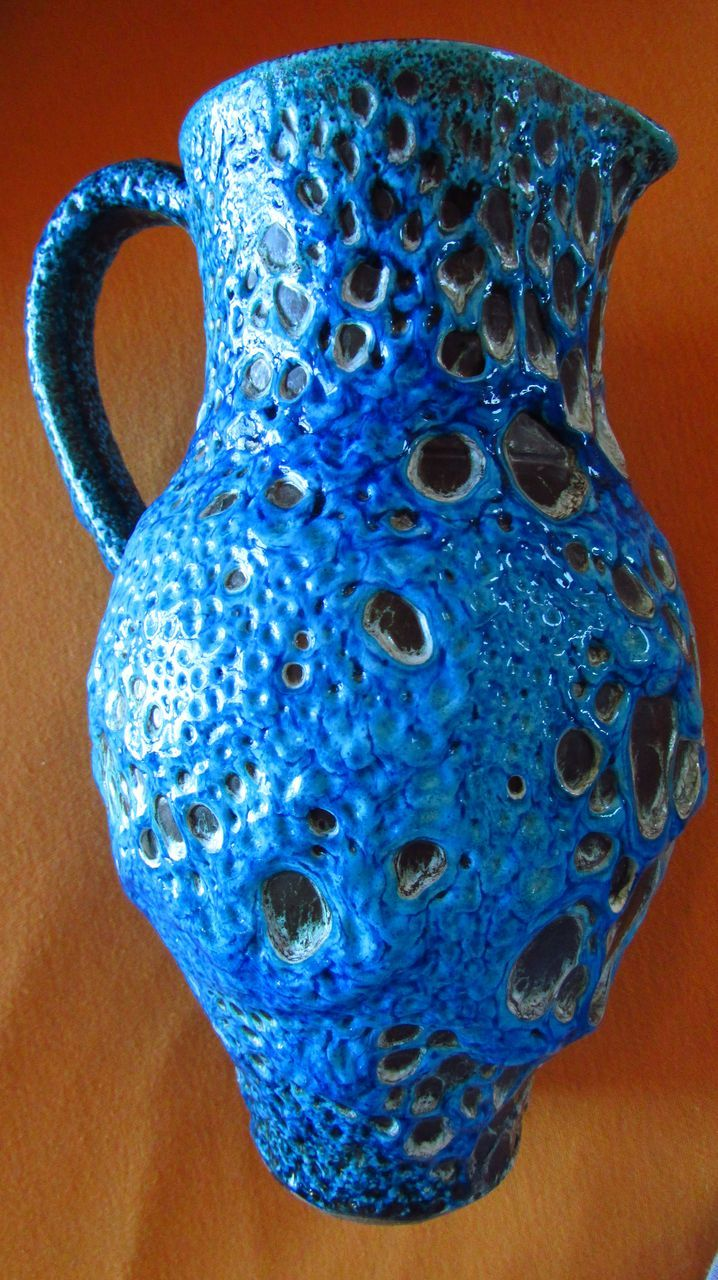 Le CYCLOPES ~~  Cyclope Annecy ~~  Charles Cart ~~ Turquoise Blue Fat Lava PITCHER  ~~  Most Unique Pottery With Loads Of Pizazz !!