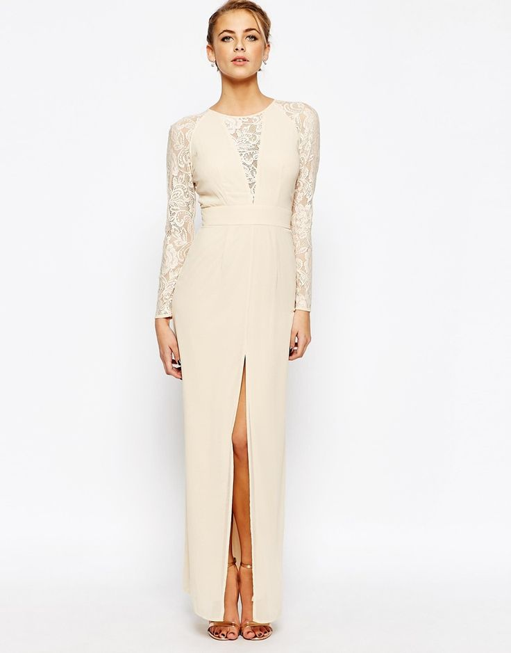 Image 1 of Elise Ryan Lace Maxi Dress With Deep V Plunge Neck and Thigh Split