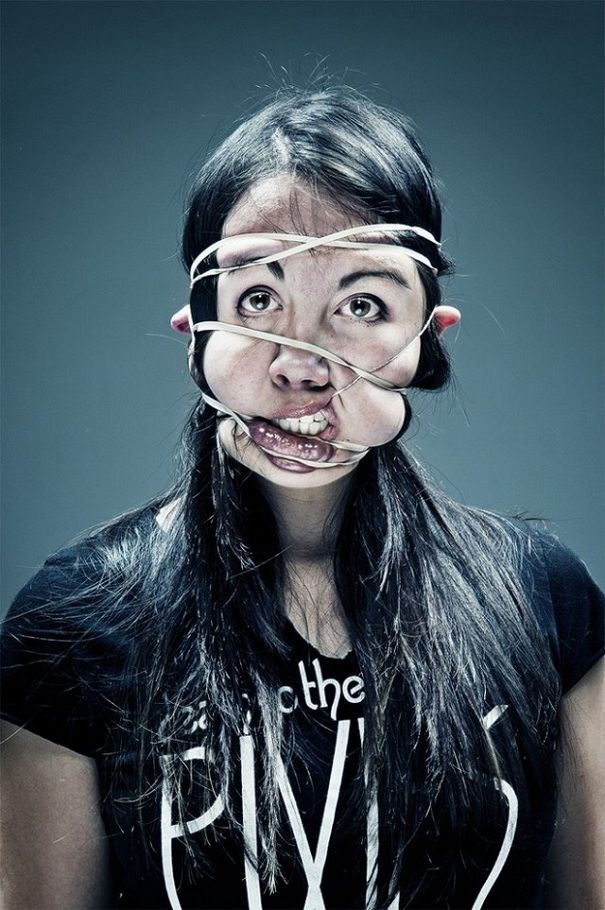 Rubber Band: New Distorted Scotch Tape Portraits by Wes Naman | Bored Panda
