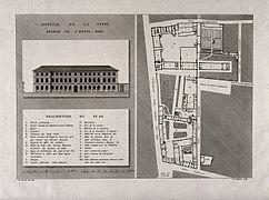 Paris 5e - Hôpital de la Pitié 2 - En 1657, l'Hôpital de la Pitié devient une dépendance de l'Hôpital général de la Salpêtrière. Pendant la Révolution, la Pitié devient une annexe de l'Hôtel-Dieu. En 1911, il est transféré à côté de l'Hôpital de la Salpêtrière.