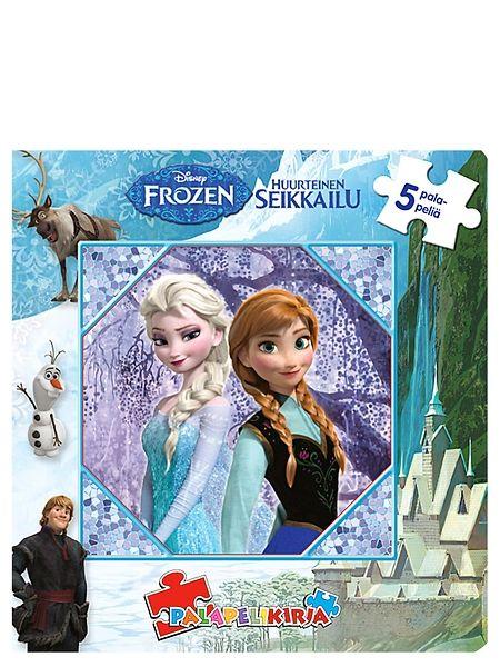 Uppoudu Frozen-elokuvan maailmaan ja kokoa Frozen-palapelikirjan kaikki viisi palapeliä! Jokaisen palapelin alla on kuva, jonka mukaan palat on helppo asettaa oikeille paikoilleen. Palojen eriväriset taustat helpottavat palapelien kokoamista. Kussakin palapelissä on 12 palaa. Koko 255 x 260 mm. Ikäsuositus 3+