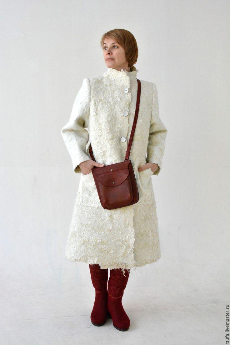 """Купить Пальто валяное """"Айвори"""" - белый, эко мех, валяное пальто, авторский войлок"""