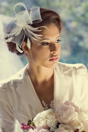 Hair, Makeup, Bridal, Flower, Jewelry, Veil, Accessories, Birdcage, Headband, Clip, Fascinator, Headpiece, Hat, Accesories, Feathe, Giao, Nguyen