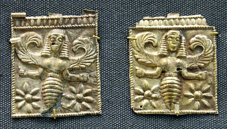 Gold plaques from the 7th c. BCE, found at Kamiros in Rhodes, that may depict the prophetic Greek bee-nymphs known as the Thriai.