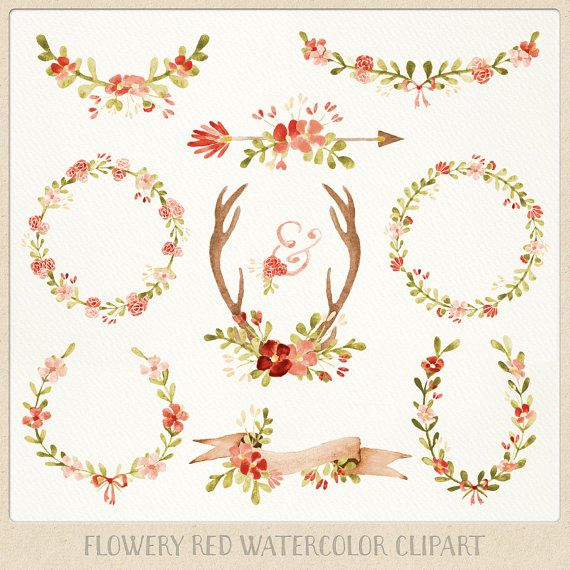 Watercolor Clipart red Wreaths Laurels Banner Flowers by ByLef