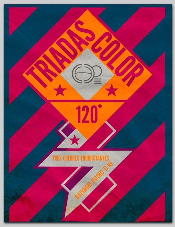 Las triadas de color son tres colores equidistantes en el circulo cromático #posters #poster #afiche #posterdesign