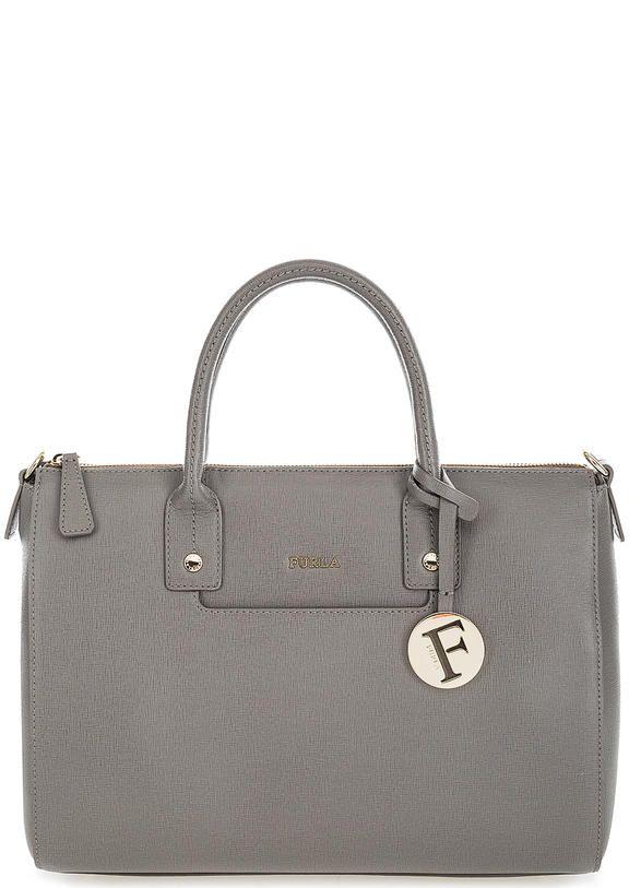 Серая кожаная сумка с короткими ручками 903660 застегивается на молнию, купить в интернет-магазине. Цена: 25000