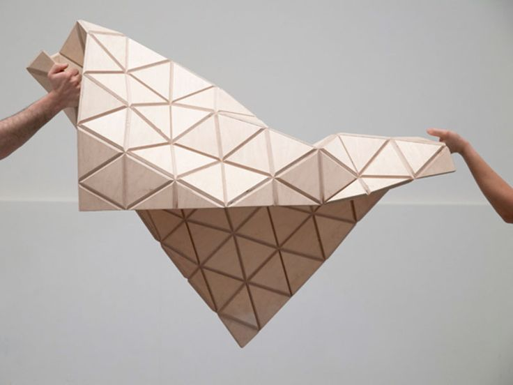 WoodSkin - CNC wood triangles over a strong mesh creates dynamic, organic surfaces