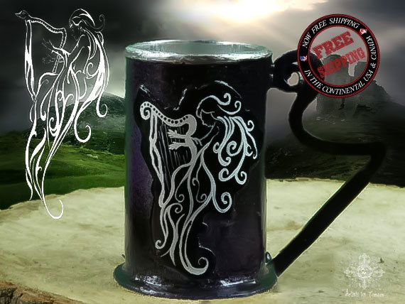 Beer tankard of Ancient Irish goddess Canola,gift, stein,mug,tankard, forged, harp,musik,piano, artistelestordus,godess, irish,beer