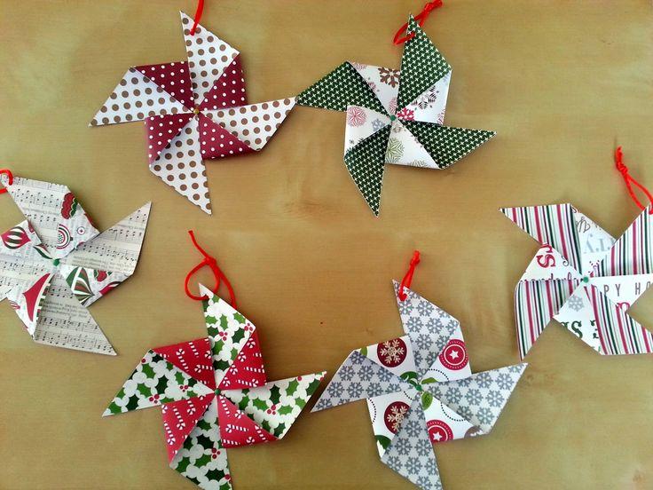 Tutorial de molinillos para el árbol de Navidad #scrapbooking #DIY #christmas #tutorial