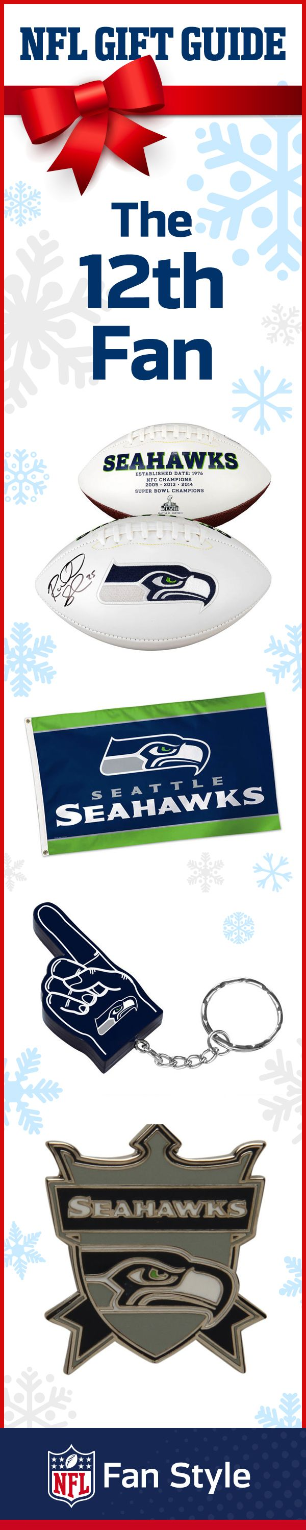 Know somebody who absolutely bleeds blue and green? Then this Seattle Seahawks 12th Fan kit is just for them. With all these special accessories, they won't ever be able to have a little Seahawks with them wherever they go.