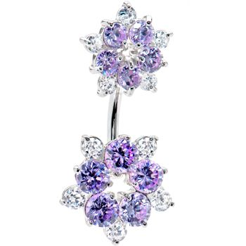 Sterling Silver 925 Lavender Cubic Zirconia Flower Belly Ring | Body Candy Body Jewelry #bodycandy #bellyring #piercing