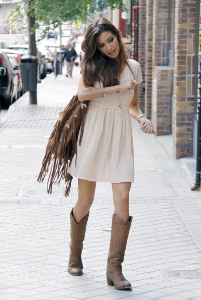 rock chic. mini dress with boots