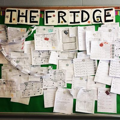 "Displaying student work on ""The Fridge"". My students love seeing their hard work displayed and I love being able to point to it on days students aren't giving their best. ""See, you CAN do it!"""