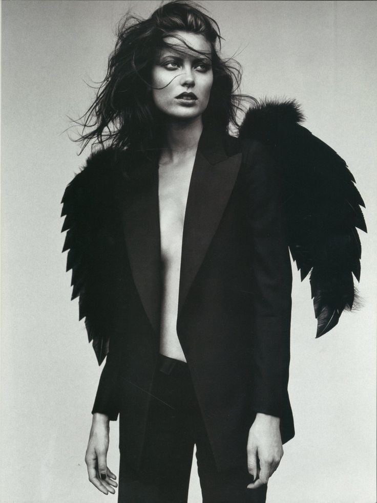 black & white | feathers | bold | photography | suit | dark | beautiful | brunette | black feather | fashion editorial | www.republicofyou.com.au