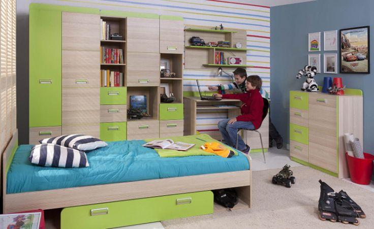 Pokój młodzieżowy SIGO, akacja / zieleń  #meble #dom #wnetrza #wystrój #mieszkanie