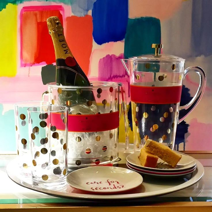 Live colourfully with Kate Spate Ice bucket, glasses, plates, jug and tray.  #katespade #gaudionfurniture #entertaining #icebucket #champagnebucket