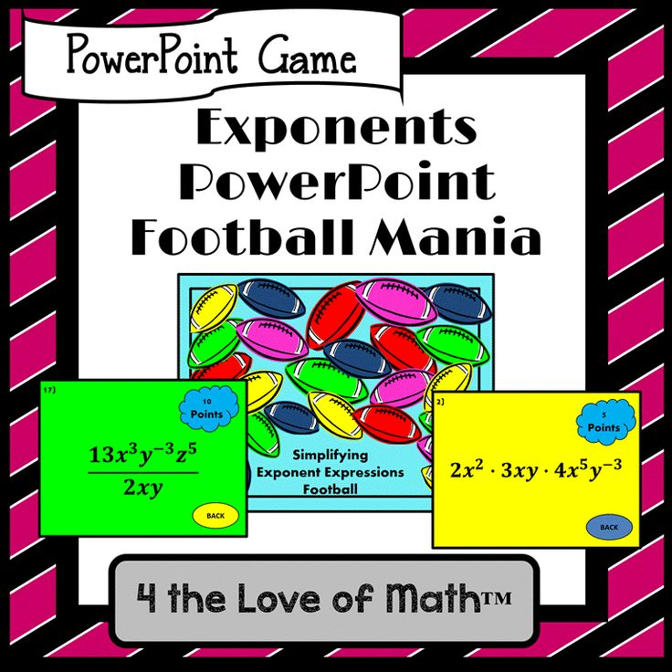 PowerPoint game on simplifying exponent expressions ($)