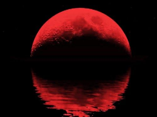 BLOOD MOON APRIL 15 2014-Why does the moon turn orange-red during a lunar eclipse? During an eclipse, sunlight shining through the ring of Earth's dusty atmosphere is bent, or refracted, toward the red part of the spectrum and cast onto the moon's surface.