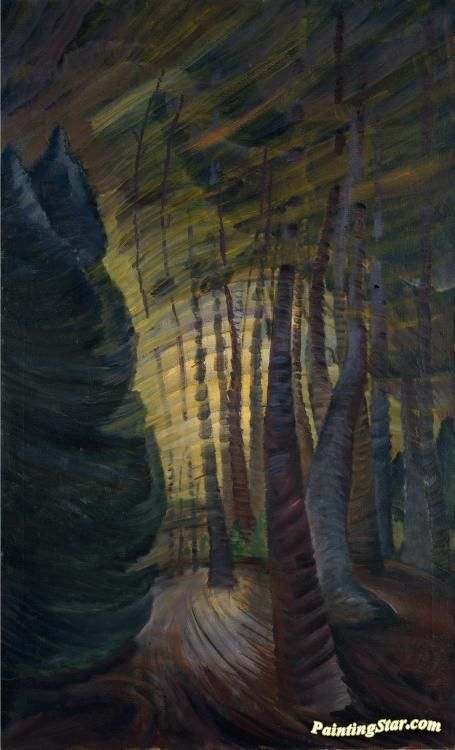 Somberness Sunlit Artwork by Emily Carr Hand-painted and Art Prints on canvas for sale,you can custom the size and frame