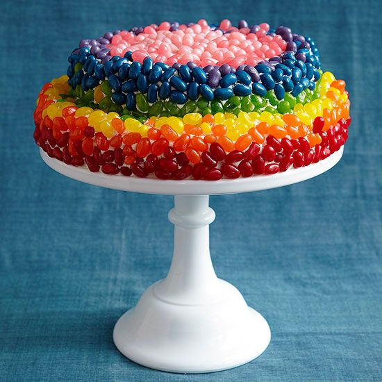 Simply press jelly beans into a frosted layer cake for a showstopping rainbow effect! Wouldn't this be fun for a birthday that falls around Easter?