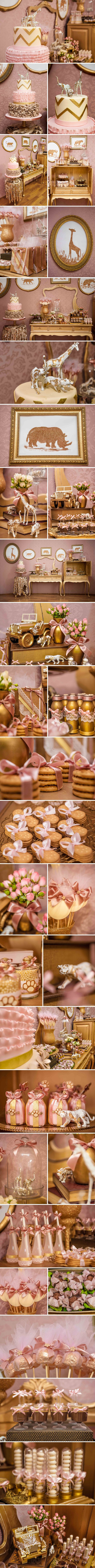 Safari Party Ideas. Glamour party for girls with pink and gold.