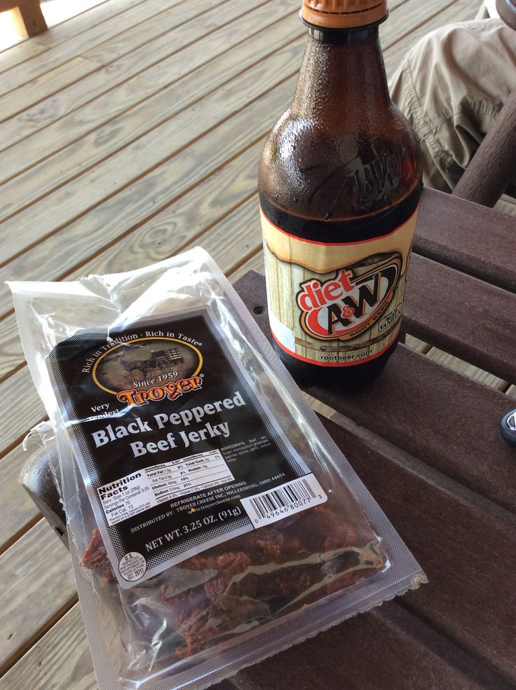 Redneck lunch. Beef Jerkey and Rootbeer