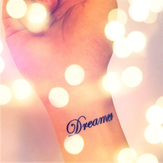 2pcs DREAMER tattoo - InknArt Temporary Tattoo - pack tattoo quote wrist ankle body sticker anchor fake love bird tattoo on Etsy, $3.99