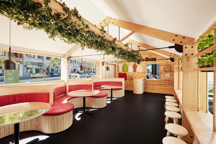 House of Haagen Dazs - ArchiBlox have designed a beautiful fit-out of detailed joinery with intricate paneling, custom booth seating and sophisticated window portals embodied with suspended planters and rope detailing creating an all-encompassing striking Scandinavian-look fitout.