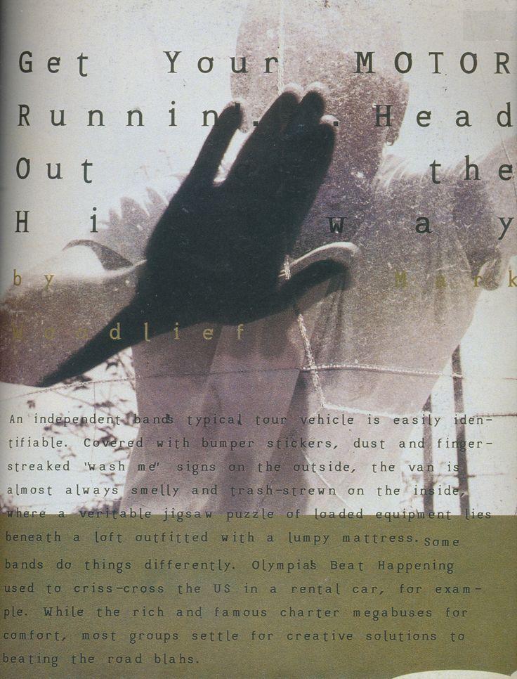 David Carson (designer), Get Your Motor Running feature, 1994