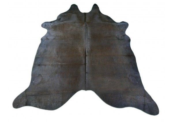 Crocodile Embossed Cowhide Rug Cow Hide Rug Brown Cowhide Rug Rug Size