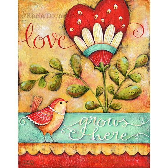 Love Grows Here Inspirational Art Print Family Home House Blessing Christian Housewarming Wall Art Print
