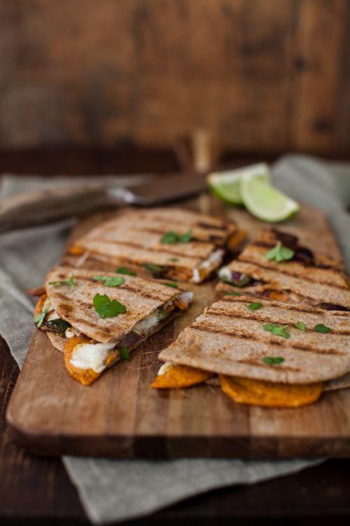 Spiced Sweet Potato Quesadilla- switch wheat flour tortillas for corn tortillas to make it gluten free!