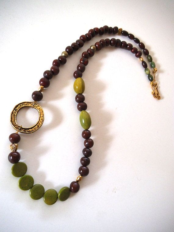 Vegan Long Beaded Necklace with Acai Seeds by TerriJeansAdornments, $34.00
