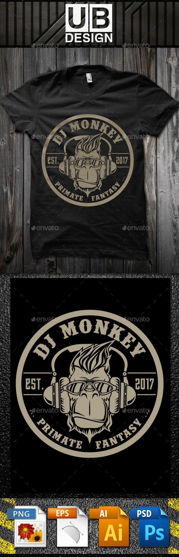 DJ Monkey #T-Shirt Template - Funny Designs