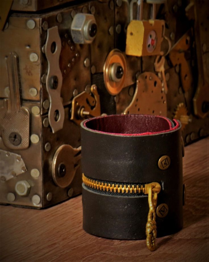 Black leather bracelet with metal rivets and zipper, handmade