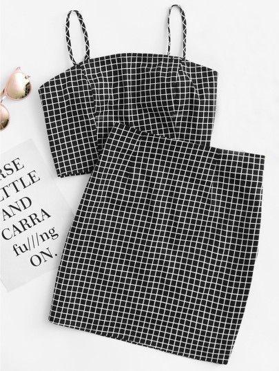 e87342d49 ROMWE | Grid Print Cami Zip | Dresses | Skirt co ord, Cami tops, Co ...