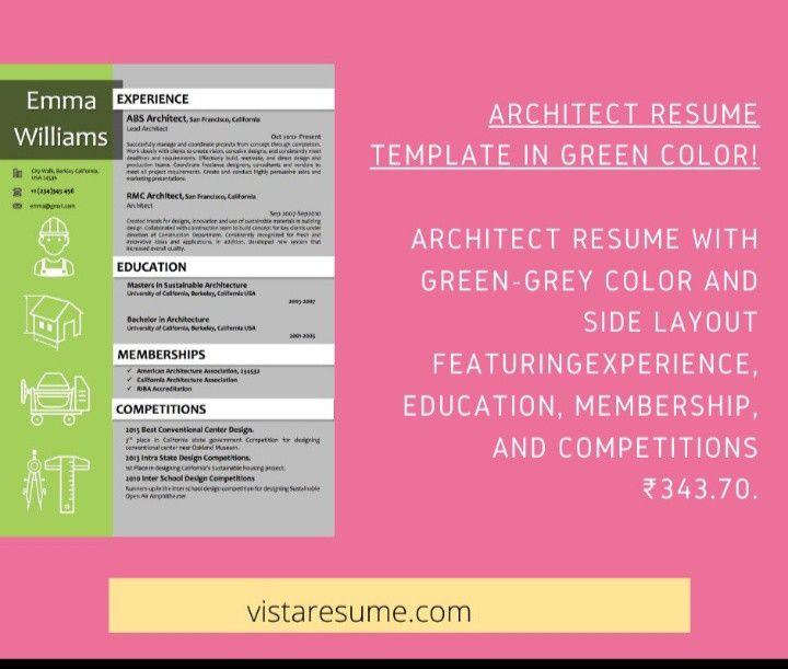 Architect resume template in green color vista resume in
