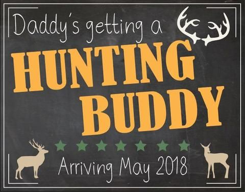 Hunting New Baby Announcement Sign. PRINTABLE Camo pregnancy announcement chalkboard. poster deer baby