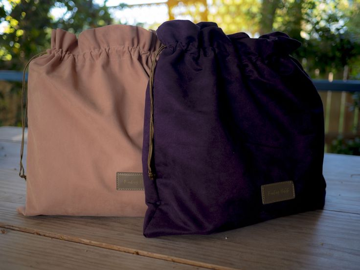 Luxury Faux suede dust bags for the Heidi bag, pink and purple design