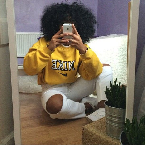 shirt sweater nike dope stylish mustard urban nike sweater crewneck natural hair yellow shoes outfit curly hair ring